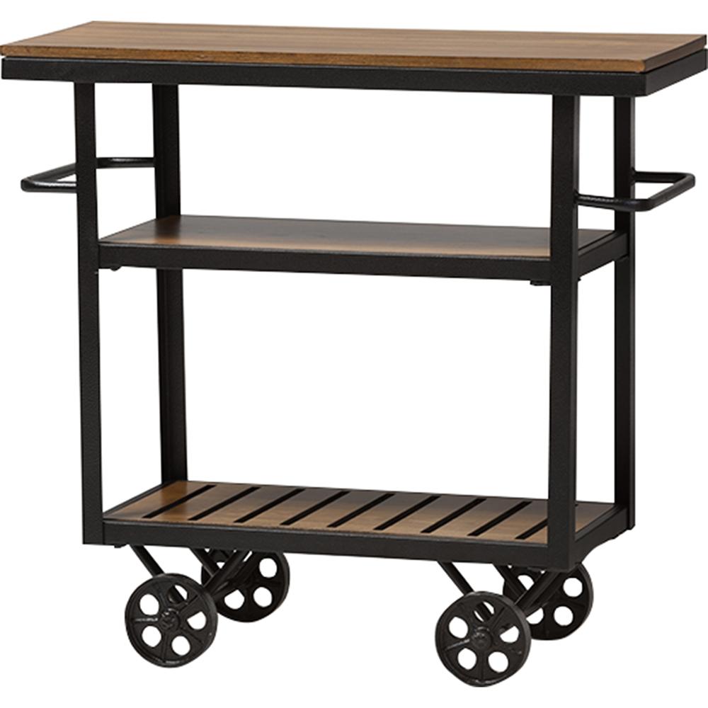 Kennedy Mobile Serving Cart Brown Antique Black Dcg