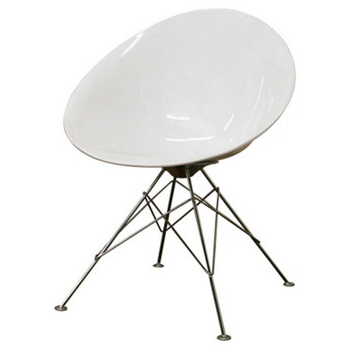 Purlan White Plastic Egg Shaped Side Chair DCG Stores