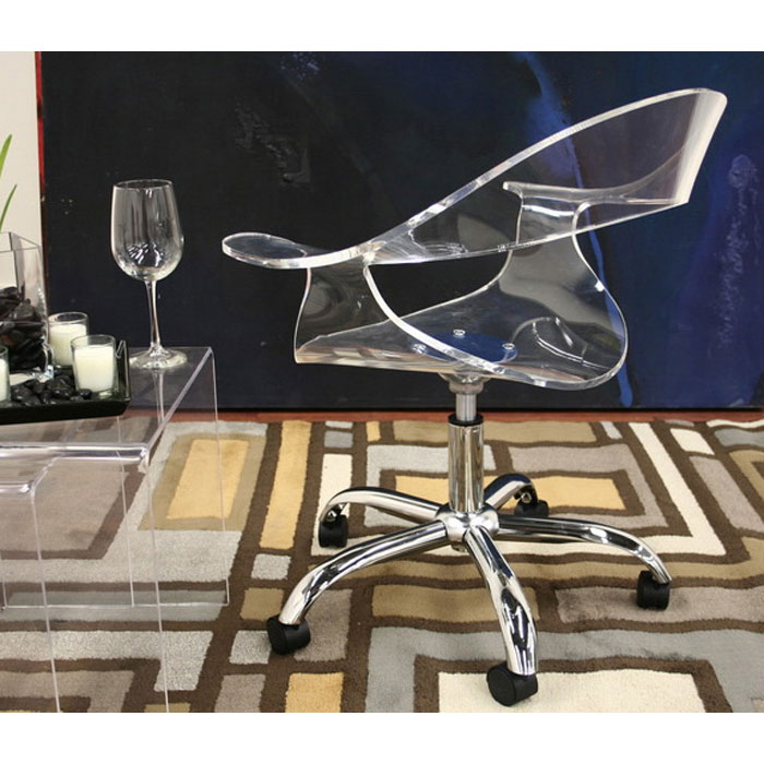 ... Elia Clear Acrylic Swivel Office Chair   WI CC 026A CLEAR ...