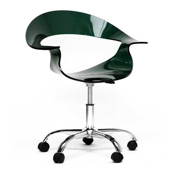 Elia Adjustable Swivel Office Chair - Casters, Deep Green Acrylic