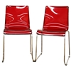 Lino Stackable Red Acrylic Dining Chair - WI-CC-53-RED