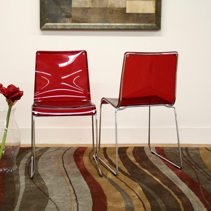 Lino Stackable Red Acrylic Dining Chair Dcg Stores