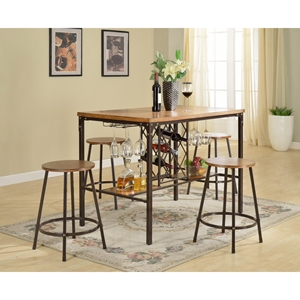 Vintner 5-Piece Pub Set - Black, Brown