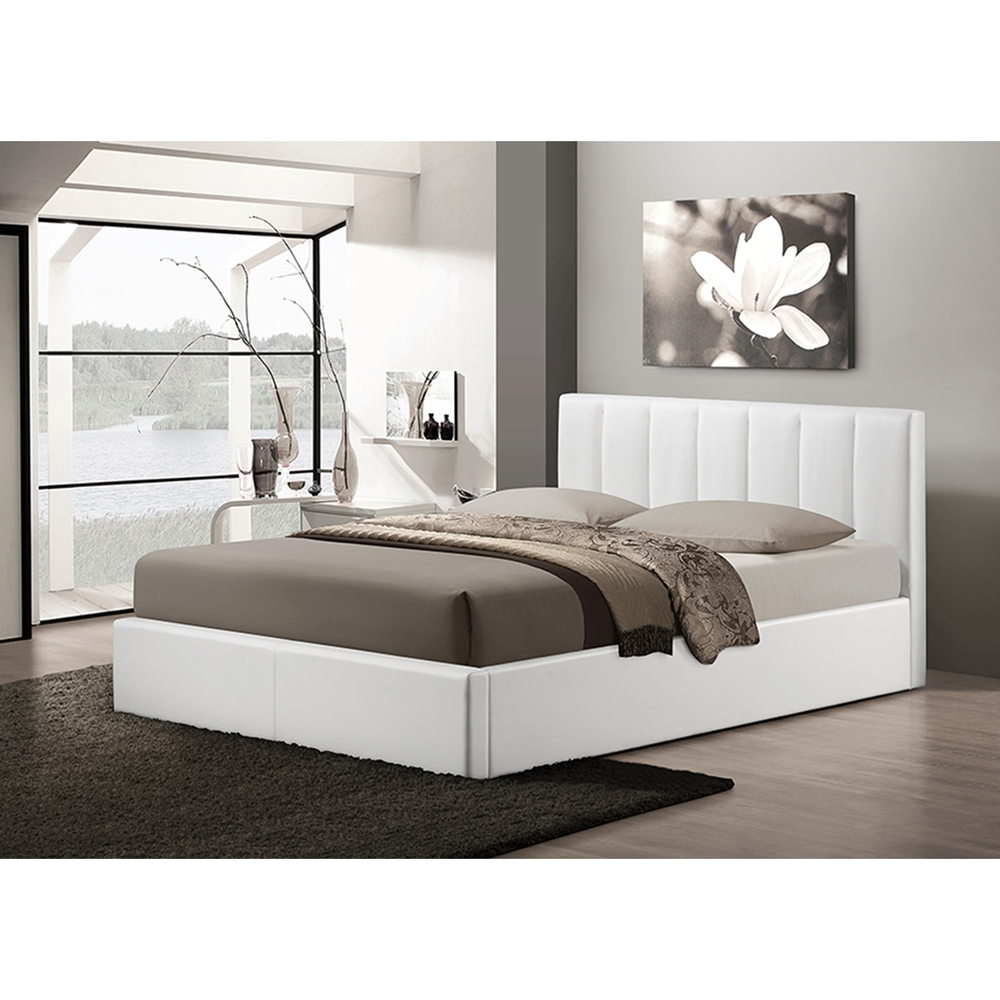 Templemore Leather Queen Platform Bed - White   DCG Stores