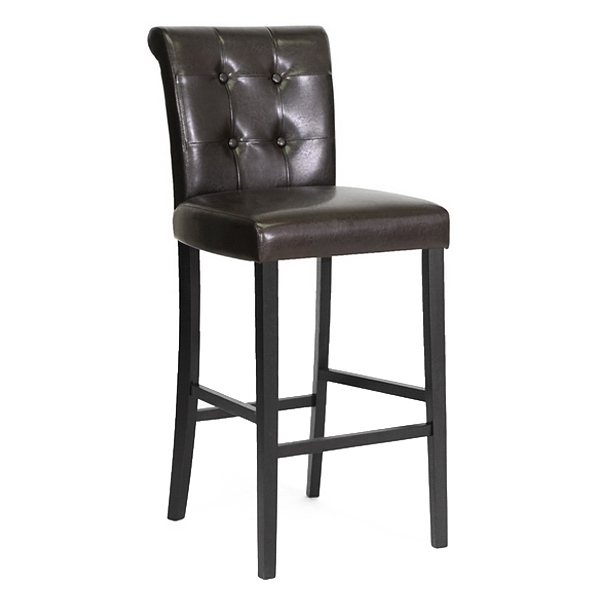 Torrington 30'' Bar Stool - Button Tufted, Dark Brown