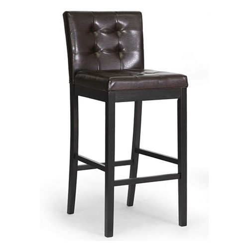 Wholesale Interiors Cognac Dark Brown Leather Bar Stool: Prospect 31'' Transitional Bar Stool