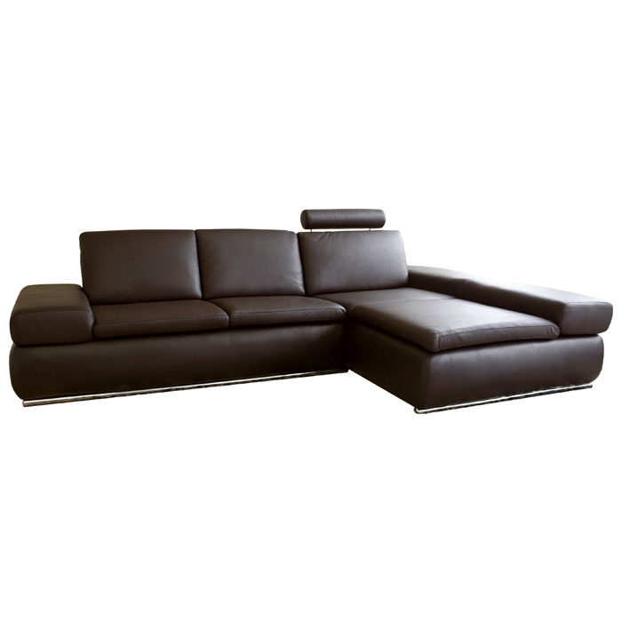 Champagne Leather Sofa With Chaise In Dark Brown Wi 2seater Daybed