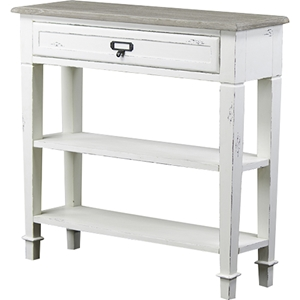 Dauphine 1 Drawer Accent Console Table - White, Light Brown