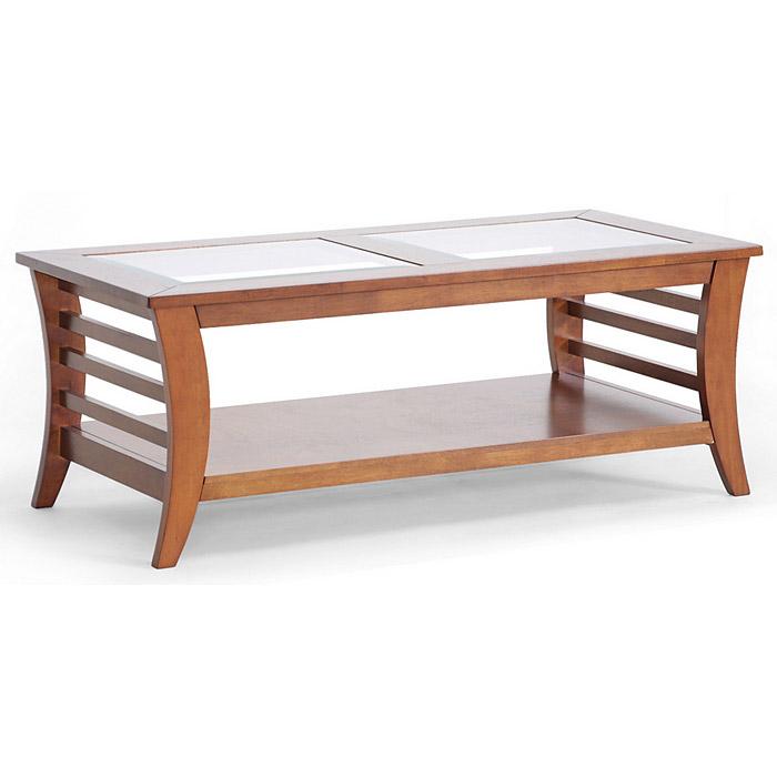 Allison Wood Coffee Table Honey Brown Glass Inlay Lower Shelf Wi