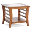 Allison Wood End Table - Honey Brown, Glass Inlay, Lower Shelf - WI-CHW35898-40