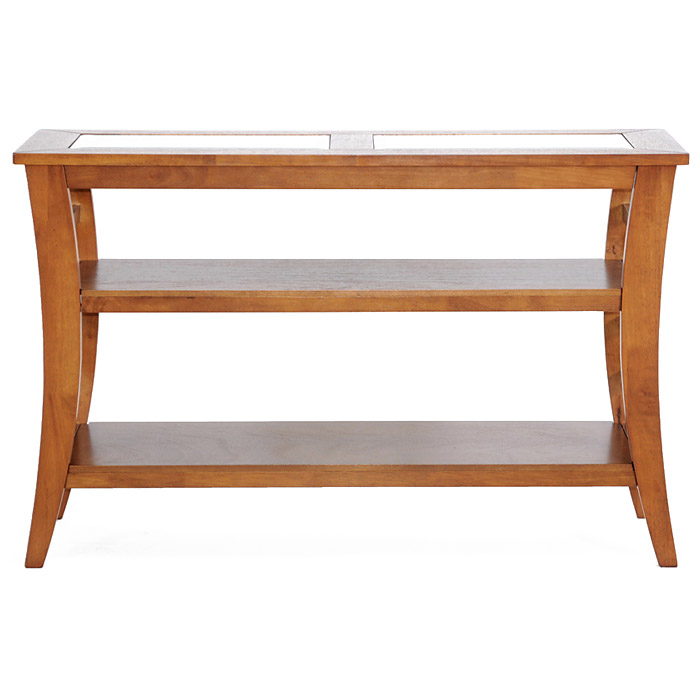 Allison Wood Console Table - Honey Brown, Glass Inlay, 2 Shelves - WI-CHW35898-50
