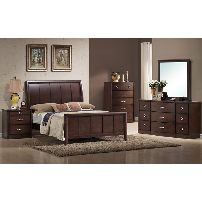 Argonne 5 Piece Queen Bedroom Set Sleigh Bed Wenge Wood Dcg Stores