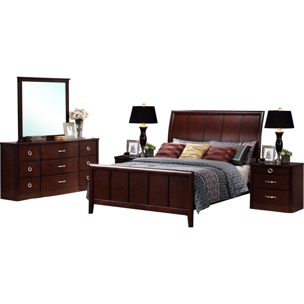 Argonne 5 piece king bedroom set dark brown dcg stores for 5 piece bedroom set