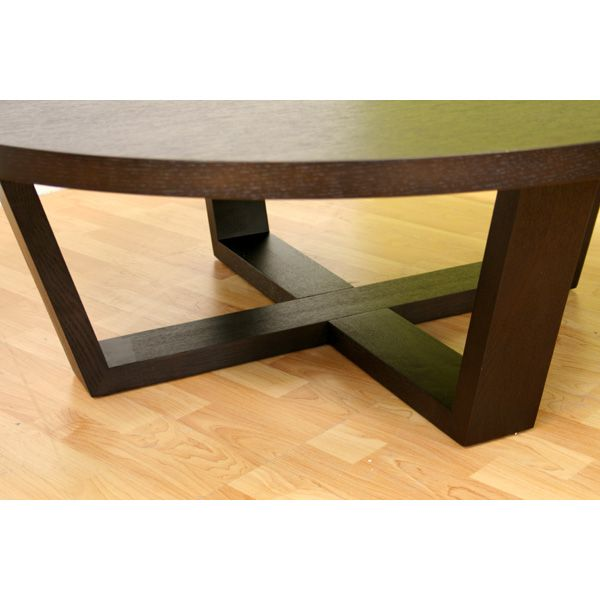 Black Oak Round Coffee Table: Chasity Black Stained Oak Round Coffee Table