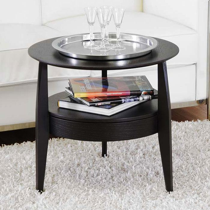 ... Gretton Black Wood Round End Table   WI CT 173
