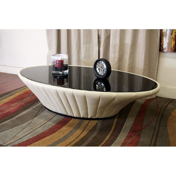 Coffee Table With Leather Top: Mayfair Cream Leather Coffee Table With Glass Top
