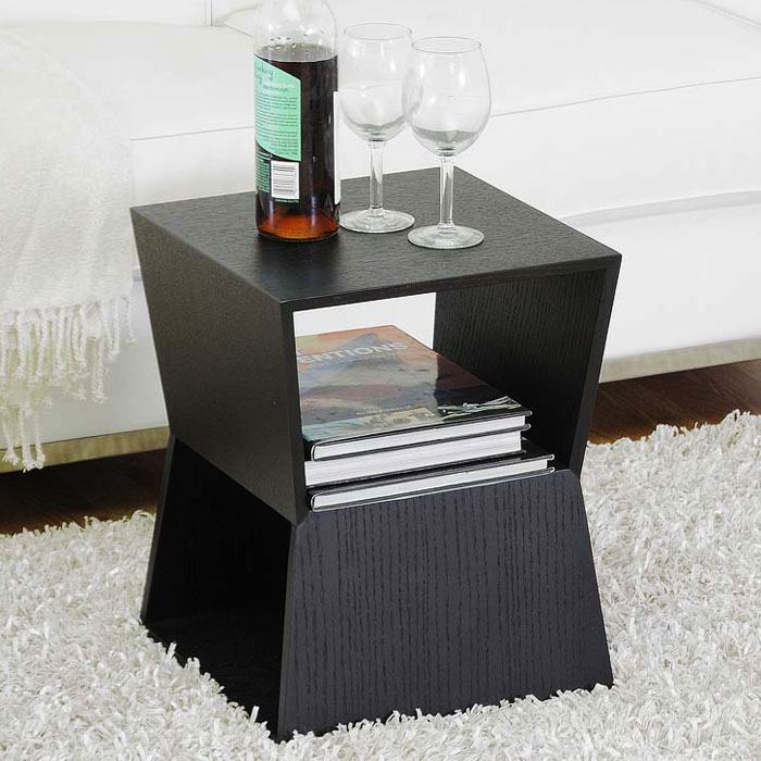 Marche Black Wood End Table - WI-CT-8021