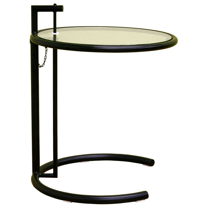 eileen gray round glass top black end table dcg stores. Black Bedroom Furniture Sets. Home Design Ideas