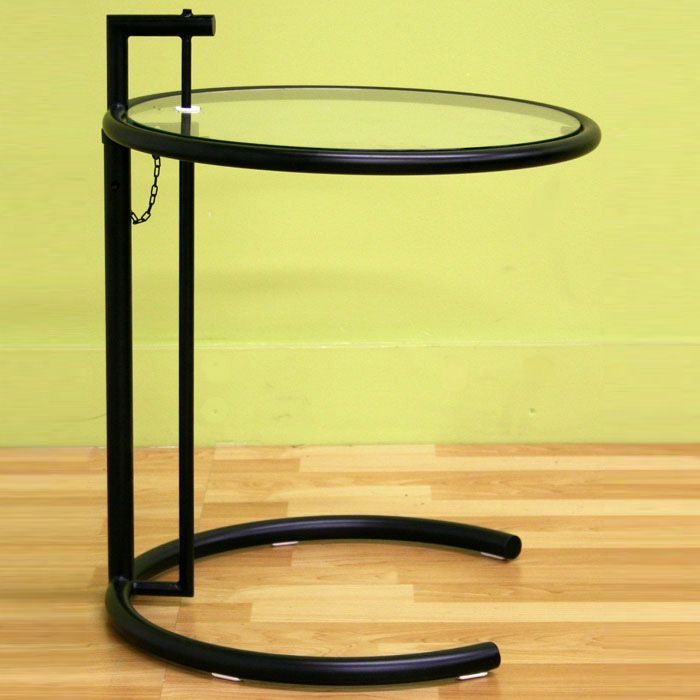 ... Eileen Gray Round Glass Top Black End Table   WI CT33161 ...