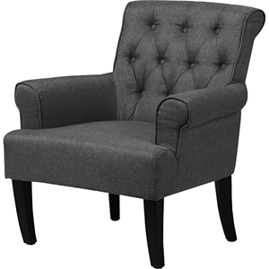 Barret Upholstered Rolled-Arm Accent Club Chair - Button Tufted, Gray