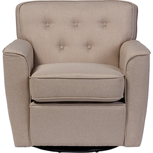 Canberra Fabric Upholstered Swivel Lounge Chair - Button Tufted, Beige