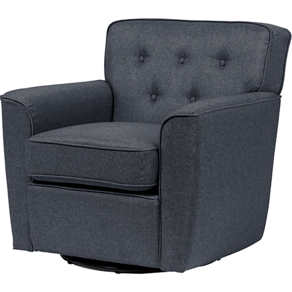 Canberra Fabric Upholstered Swivel Lounge Chair - Button ...