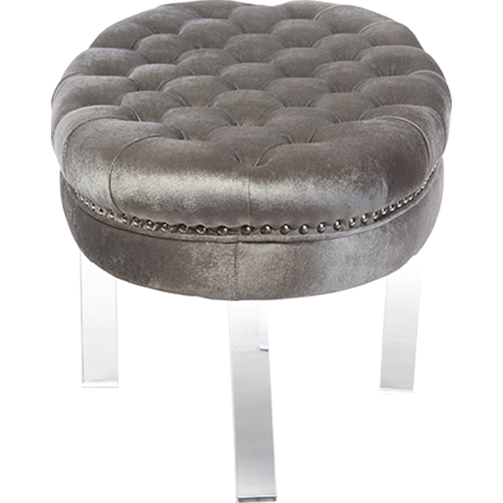 Edna Oval Microsuede Upholstered Ottoman Bench Button