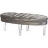Edna Oval Microsuede Upholstered Ottoman Bench - Button Tufted, Gray - WI-DB-188-GRAY