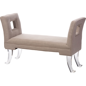 Bessie Linen Upholstered Bench - Flared Arms, Beige