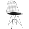 Avery Bertoia Style Accent Chair - Chrome, Black Seat - WI-DC-106-BLACK-CUSHION-DC