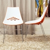 Jupiter Stackable White and Orange Plastic Dining Chair - WI-DC-319