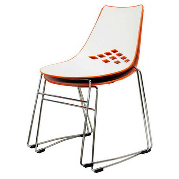 ... Jupiter Stackable White And Orange Plastic Dining Chair   WI DC 319 ...