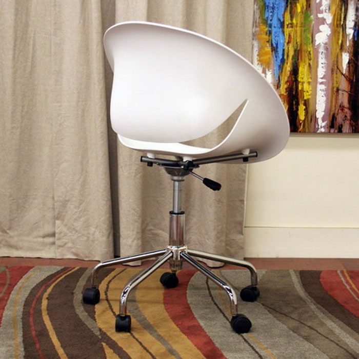 Justina White Molded Plastic Swivel Office Chair - WI-DC-337D-WHITE