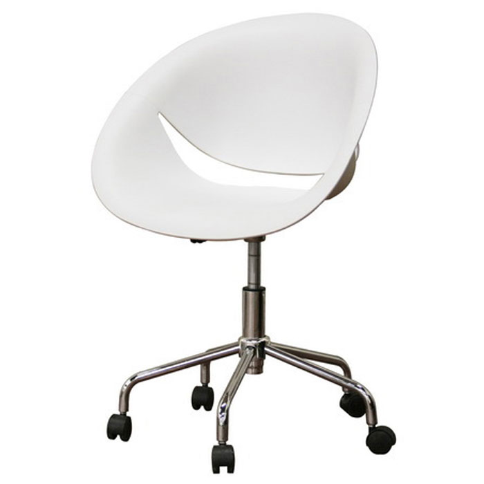 Justina White Molded Plastic Swivel Office Chair