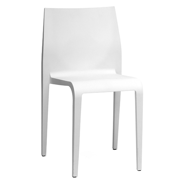 Blanche Molded Plastic Dining Chair - Stackable, White - WI-DC-42-WHITE
