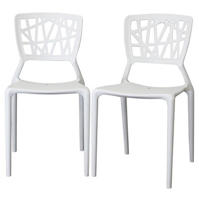 Oketo stackable white plastic modern dining chair dcg stores for White plastic dining chair