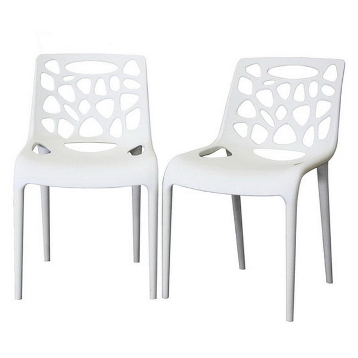 Quindel Stackable White Plastic Modern Dining Chair Dcg