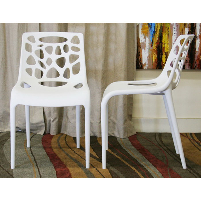 Quindel Stackable White Plastic Modern Dining Chair - WI-DC-490-WHT