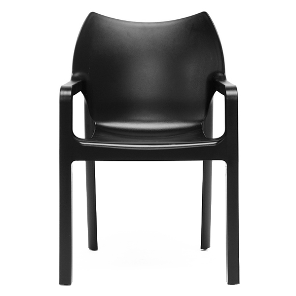 Limerick molded plastic dining chair stackable black for Black plastic dining chairs