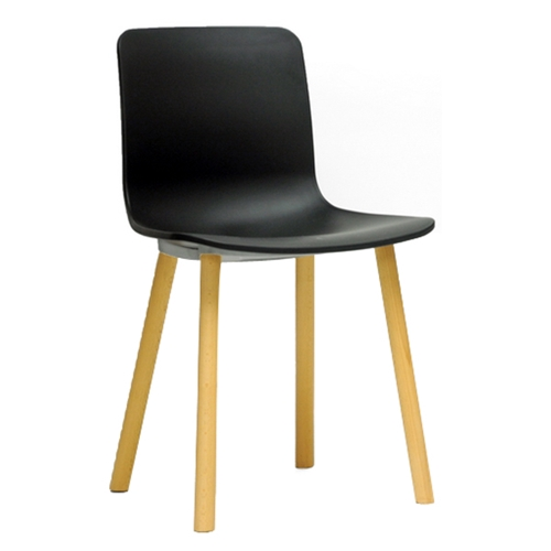 Lyle modern dining chair wood legs black plastic seat for Black plastic dining chairs
