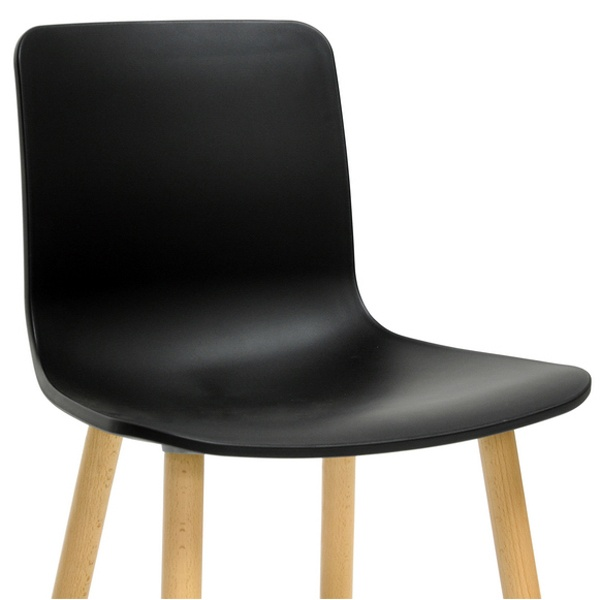 Lyle Modern Dining Chair - Wood Legs, Black Plastic Seat - WI-DC-782-BLACK