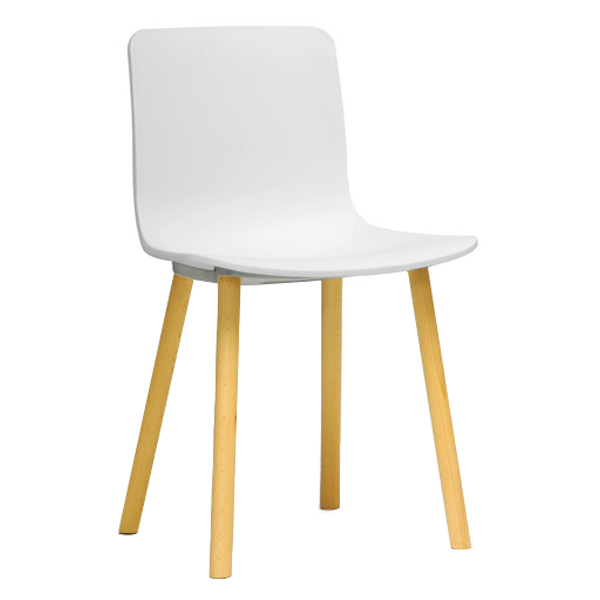 Lyle modern dining chair wood legs white plastic seat for White plastic dining chair