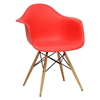 Pascal Mid-Century Modern Plastic Chair - Wood Dowel Legs, Red - WI-DC-866-RED
