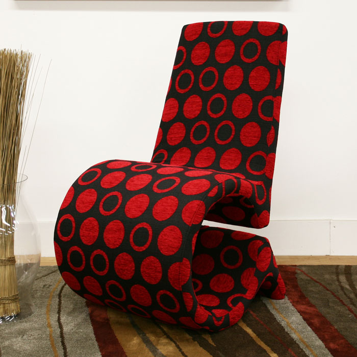 Forte Black And Red Patterned Fabric Accent Chair Dcg Stores