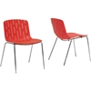 Florissa Plastic Dining Chair - Red (Set of 2) - WI-DC-S006C-RED