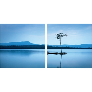 Cerulean Stillness Mounted Photography Print Diptych - Multicolor