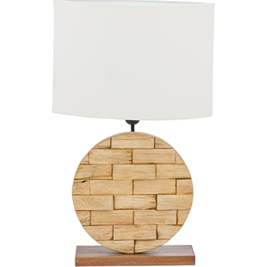 Budalin Linen Table Lamp - White, Natural