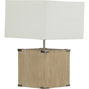 Kostka Table Lamp - White, Light Brown