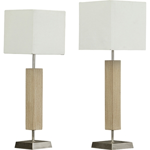 Esquina Lamp Set - White, Light Brown
