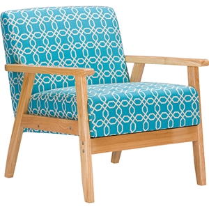 Francis Patterned Fabric Armchair - Light Blue